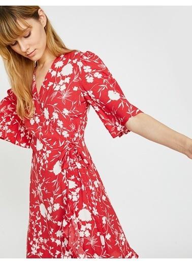 Koton Beli Bağlamalı Elbise Kırmızı